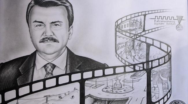 BAŞKAN ERKOÇ'A PORTRE HEDİYE..