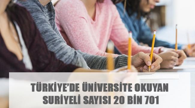 TÜRKİYE'DE ÜNİVERSİTE OKUYAN SURİYELİ SAYISI 20 BİN 701