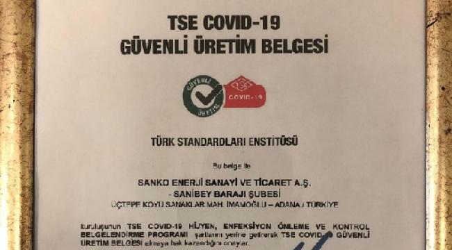 SANİBEY BARAJINA TSE COVID-19 GÜVENLİ ÜRETİM BELGESİ..