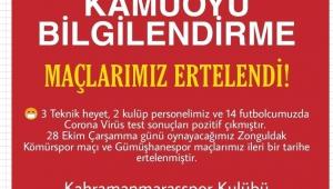 Kahramanmaraşspor maçları ertelendi..