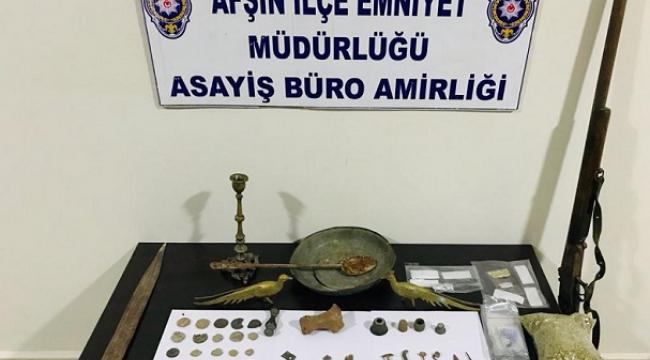 Afşin'de uyuşturucu ve tarihi eser operasyonu ..