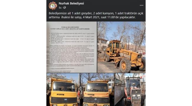 Nurhak Belediyesi iş makinelerini satıyor