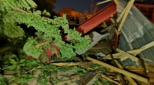 Kahramanmaraş'ta şiddetli rüzgar çatıları uçurdu ağaçları yerinden söktü