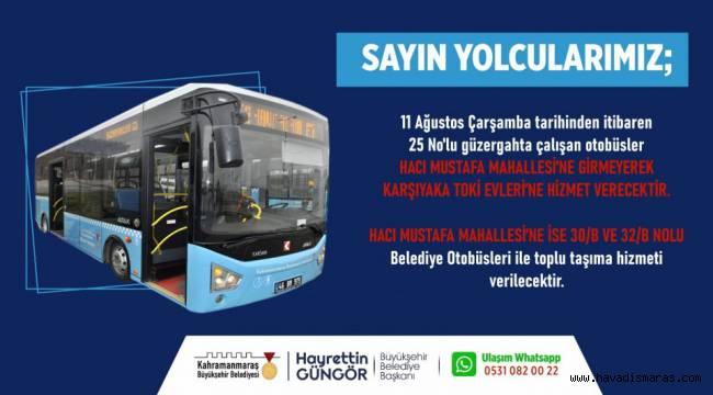 Üç Otobüs Hattında Değişiklik