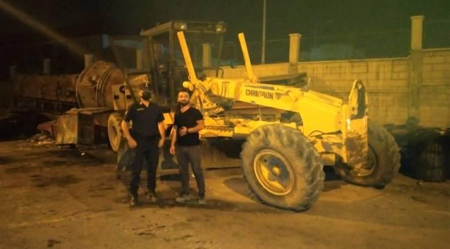 Kahramanmaraş'ta çalınan greyder hurdalıkta bulundu